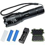Vonpri Linterna LED con Cargador USB y 2 Baterías 1000LM Impermeable y Recargable, Linternas Antorcha Luz con 5 Modos para Ciclismo, Camping, Montañismo