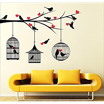 SRGindia 'Love Birds with Hearts' Wall Sticker (Vinyl, 50 cm x 5 cm x 0.99 cm)