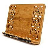 Chiloskit Soporte de bambú para libros de cocina, documentos, libros, soporte para computadora portátil, soporte para libros de cocina, soporte para libros de texto, soporte para pantalla Book Stand