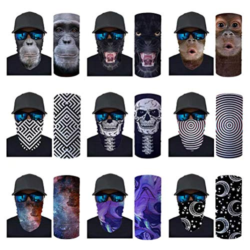 ORGYPET 9 Pieces Gorilla Animal Print Face Cover Men Neck Gaiter Cooling Sunblock Face Scarf for Women, Geometric/Skull/Universe Starry Star Design