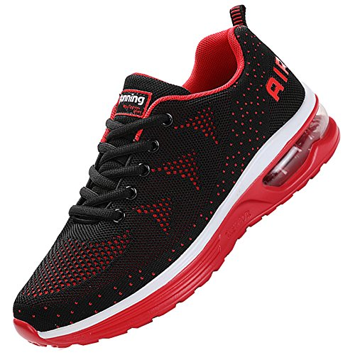 JARLIF Men's Lightweight Athletic Running Shoes Breathable Sport Air Fitness Gym Jogging Sneakers (10.5 D(M) US, BlackRed)