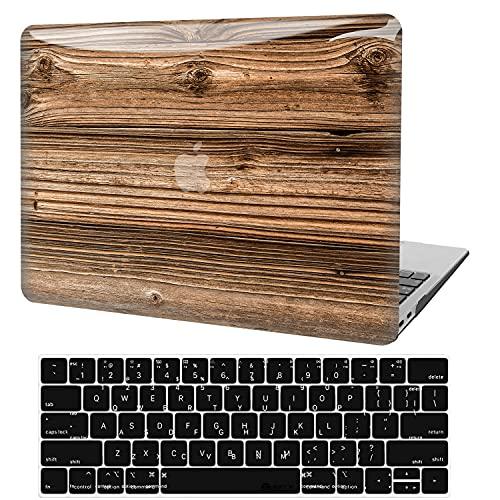 Funda para MacBook Pro 13 pulgadas 2020-2016 Versión A2338 M1 A2289 A2251 A2159 A1989 A1706 A1708, 3D Estuche Rígido Plástico de Madera Lisa + Cubierta de Teclado para Mac Pro 13 Touch Bar y Touch ID
