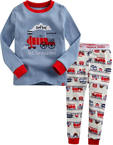 Image of Cotton Long Sleeve Train Pajamas for Boys - See More