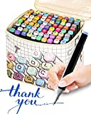 80 Color Alcohol Permanent Markers, Dual-Tip Alcohol Based Art Marker Pens Highlighters, Artists Sketch Markers with Case and Fine Liners for Kids Adults Coloring Sketching Illustrating