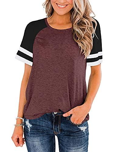 DELIMALI Sudadera para mujer, estampado de rayas y cuello redondo, manga corta, camiseta