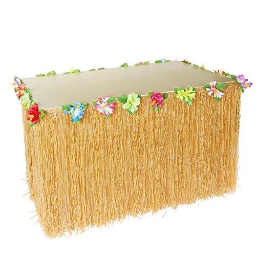 Gonna da tavolo tropicale hawaiano Marry Acting, 71,1 x 274,3 cm, decorazione da tavolo Tiki con decorazione floreale multicolore per giardino, spiaggia, picnic, estate, feste, colore: oro