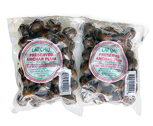 Lat Chiu Preserved Amchar Plum (Spicy) - 350g (Pack of 2) - Trinidad & Tobago Snacks