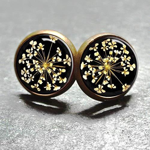 Cabochon Ohrstecker Dillblüte für Damen von Polarkind Stecker Ohrring handmade 12mm antik-bronze