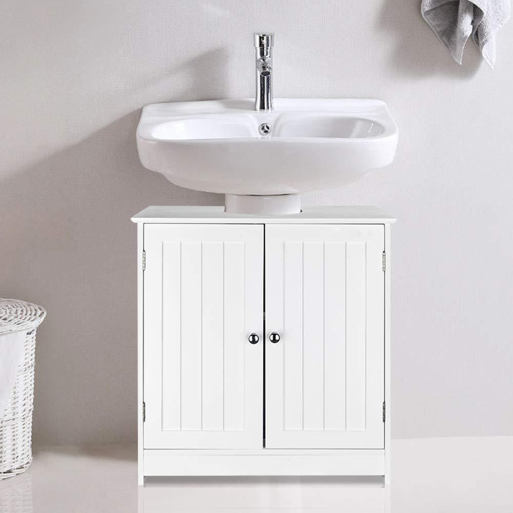 Ssline Under Sink Vanity Cabinet Free Standing Bathroom Sink Cabinet With Pedestal Hole White Bath Storage Cupboard W Doors Shelves Space Saver Organizer Buy Online In El Salvador At Desertcart 173712481