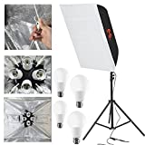Fomito Foldable Flash Diffuser Softbox Kit 24 inches x24 inches/60x60cm with Opening Window and Power Cable, Including Flash Stand and 4 x LED Bulb