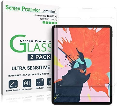 amFilm iPad Pro 12.9 Screen Protector (2020 and 2018 Models), Case Friendly (Rounded Edge) Tempered Glass Film Screen...