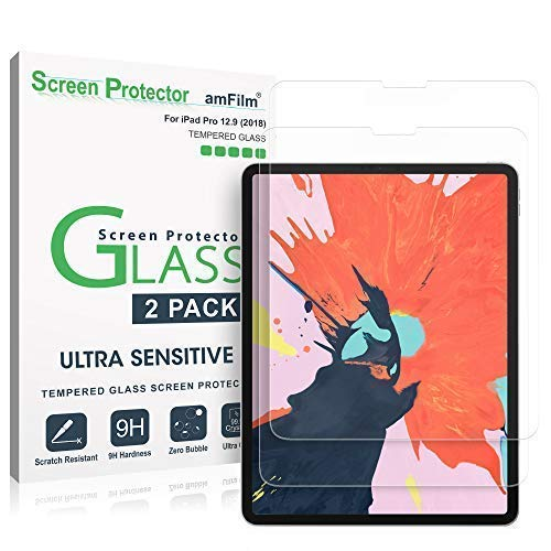 amFilm Protector Pantalla iPad Pro 12.9 (2020 y 2018 Modelos), Bordes Curvos (Anti-Burbujas) Cristal Vidrio Templado...