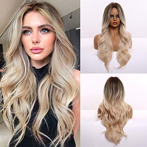 HAIRCUBE Lange lockige Synthetische Haarperücken für Frauen Mittelscheitel Dunkelbraun bis Blond