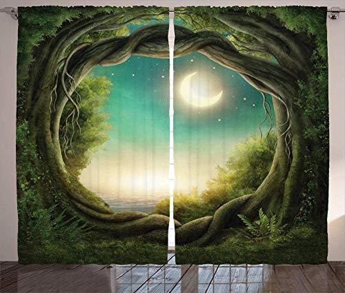 MZCYL Verdunkelungsvorhang Ösen Gardinen Blickdicht Schlafzimmer Thermo Verdunklungsgardinen 229x183cm Baumvorhänge, Bäume in der Vollmondkunst des magischen Waldes für Vorhang Schlafzimmer Wohnzimmer
