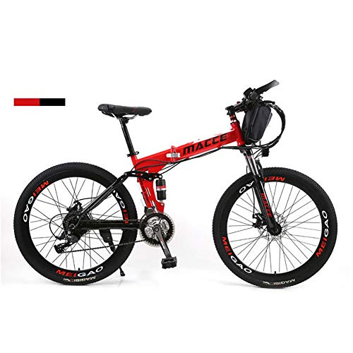 26' Electric Bike 36V 12Ah 250W Dual Suspension E-Bike 21 Speeds High-Carbon Steel Hybrid Folding Bike with Disc Brakes and Suspension Fork (Removable Lithium Battery),Red,36V12A