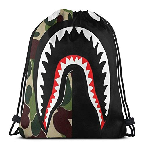Wangtong Bolsas de cuerdas Case Shark Ba-pe Mochila con cordón Gimnasio Mochila deportiva ligera Mochila al aire libre Hombro plegable Unisex
