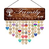 Birthday Board Wall Hanging Family Tree Wooden Family Birthday Reminder Calendar Board Mother's Day Gift Grandma Mother Happy Birthday Unique Gifts for Mother in Law