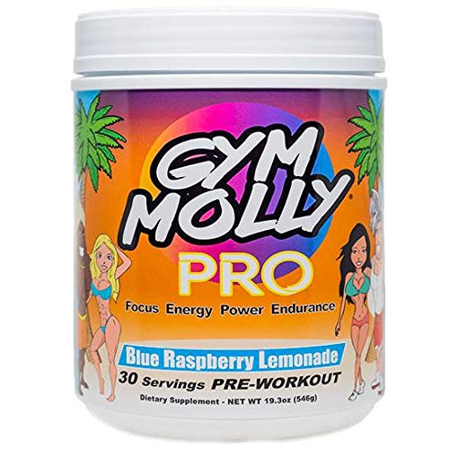 Gym Molly PRO - PreWorkout - 30 Servings - Blue Raspberry Lemonade, 6G Citrulline Malate, 4G Beta-Alanine, 300mg Caffeine from Pure Coffee Plants