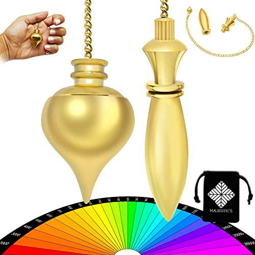 Péndulo Divinatorio Egipcio Thot & Péndulo de Radiestesia Abbe MERMET Gota de agua TEMOIN en latón dorado – Pack único de 2 péndulo – Cejas [Satisfit o recambio]