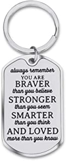 Inspirational Encouragement Gifts for Son Daughter Keychain Women Men College Students Teenage Boy Girls Birthday Wedding Always Remember You are Braver Engraved Key Ring for Men Teens