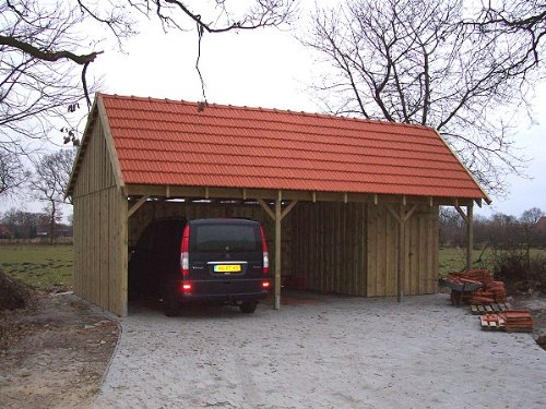 Carport Satteldach SPA 600 x 800cm Bausatz - Geräteraum inklusive - Satteldachcarport