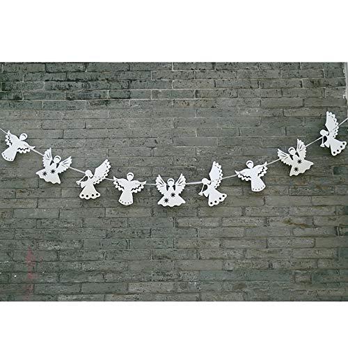 Ningz0l Verjaardag Decoratie, Engel Pull Flower Banner Verjaardagsfeest Decoratie Supplies achtergrond sfeer 3 stuks zilver