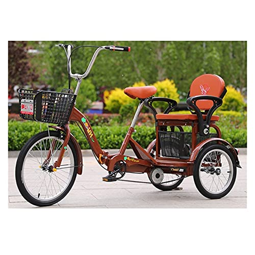 zyy Adult Tricycles 1 Speed Foldable Tricycle with Basket for Adults 16 Inch Adjustable Trike with Large Basket for Recreation for Recreation Shopping Picnics Exercise Color Brown