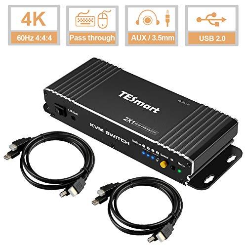 TESmart 2Fach HDMI KVM-Switch, HDMI 4K 3840x2160@60Hz 4:4:4 mit Tastatur und Maus Pass-Through 2 Stück 1,5m KVM Kabeln unterstützt USB 2.0 Geräte Steuerung von bis zu 2 Computern/Servern/DVRs