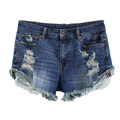 MSSHE Women's Plus Size Destroyed Washed Short Jeans Pants Denim Shorts