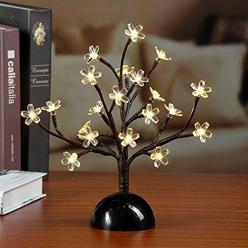 Lightshare NEW 12Inch 20LED Cherry Blossom Bonsai Light,Warm Light,Battery Powered for Home Decoration