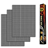 KT THERMO BBQ Grill Mesh Mat - Set of 3 Non Stick BBQ Grill mats, Heavy Duty, Reusable Grilling mats, Easy to Clean - Works on Gas, Charcoal, Pellet for Grill Stainless Steel Brash (Mesh mat 3)