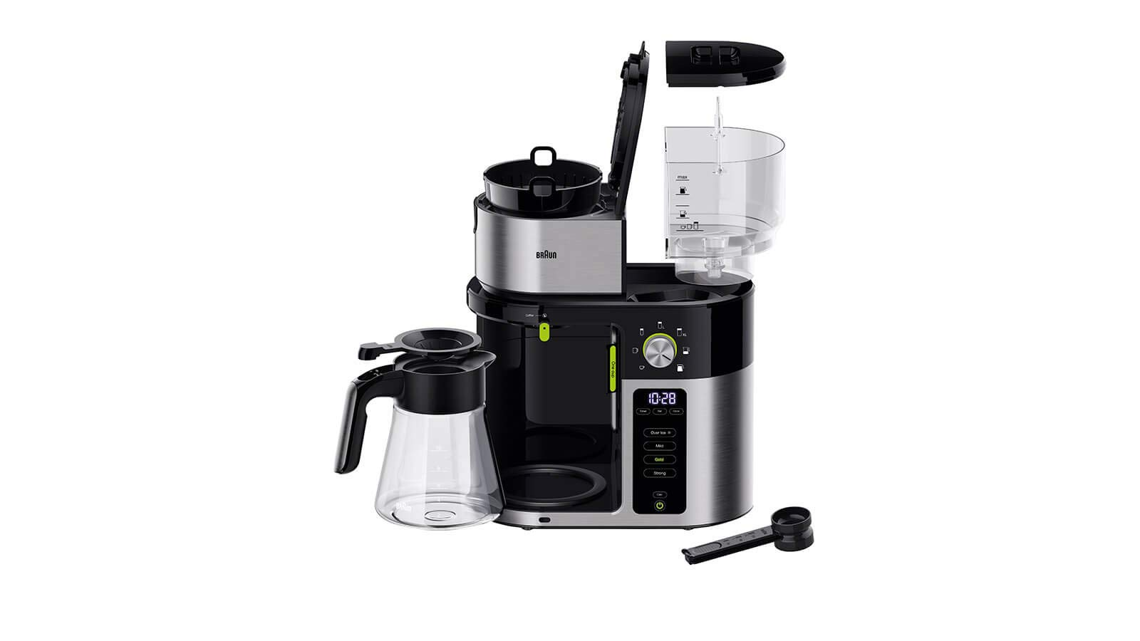 Braun Household Braun MultiServe KF 9050 - Cafetera de goteo con filtro (7 tamaños de porciones, 1 jarra pequeña para hasta 10 tazas, pantalla táctil, 1.750 W, acero inoxidable 18/8), color negro: Amazon.es: Hogar