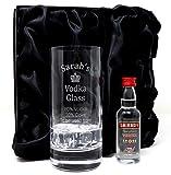 Personalised Premium Highball & Miniature - Vodka% Design (Smirnoff Red Label Vodka, Silk Lined Gift Box)