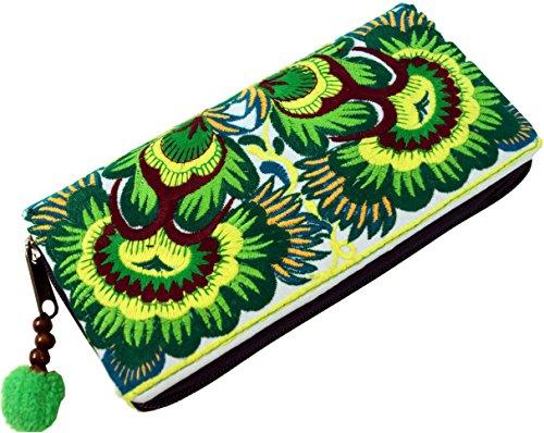 GURU SHOP Besticktes Ethno Portemonnaie Chiang Mai, Boho Geldbeutel - Lemon, Herren/Damen, Grün, Baumwolle, Size:One Size, 10x20x3 cm, Portemonnaies aus Stoff