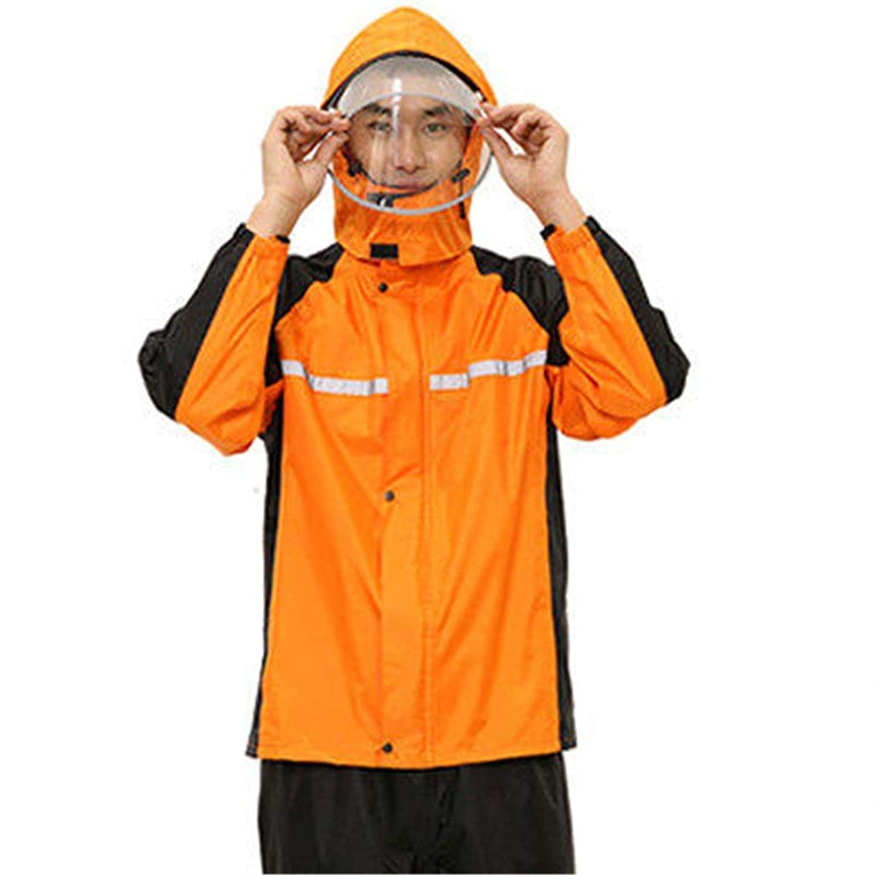 同志ジャンプする重なる防水ポンチョ 防水スーツのジャケットとズボンレインコート解決バイク自転車マウンテンバイクに乗って車体外側バンド嵐風のレインコートのジャケット サイクリングレインコートレインコート (色 : C3, サイズ : XXXL)