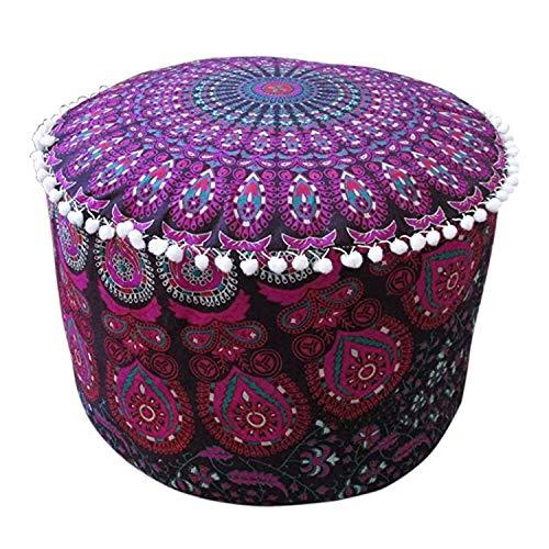 Rajasthaniartdecor Indian Mandala Decorative Footstool Cover Pouf Ottoman Cover Cotton Floor Pillow Hippie Boho Decorative Bohemian Home Decor Pink Lavender Pouf Cover Size 14 H. x 22 Dia.(Inches)