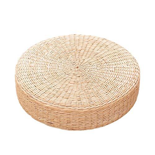 Rylod Coussin de siège plat en paille, style japonais, en rotin tressé - Coussin rond pour tapis de yoga, pouf ou tatami - 40 cm