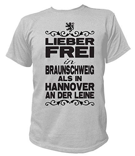 Artdiktat Herren T-Shirt - Lieber frei in Braunschweig als in Hannover an der Leine - Funshirt Humor Fun Spaß Kult Funny Spruch Größe M, grau