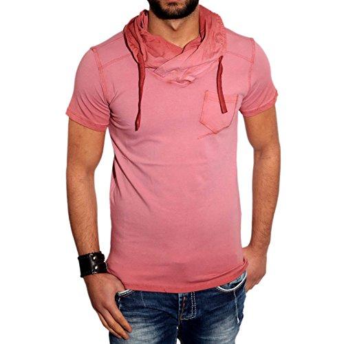 KICKDOWN Hemd Slim Fit Kurzarm Herren Poloshirt Batik Style T-Shirt Kd-2492, Farbe:Rot;Größe:M