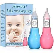 Nasensauger Baby, Nasal Aspirator, Nasensekretsauger, Schnell den Nasenschleim des Babys Entfernen für Kinder 2 Weiches Silikon Tipps Tragbar (Pink + Blau)