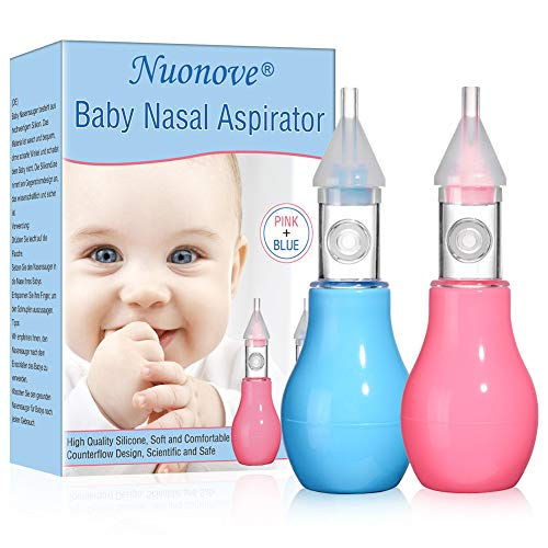 Aspirateur Nasal, Mouche Bébé, Baby Nasal Aspirator, Nez Aspirateur Bebe, Silicone Souple nettoyable pour bébé 2pcs (Rose + Bleu)