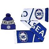 Set de regalo oficial del Chelsea FC (Premier League) para invierno y bufanda (100% acrílico)