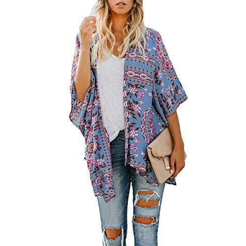 routinfly Damen Freizeit Cardigan,Offene Cardigan Blumendruck Strand lose Schal Kimono Cardigan Top Cover Bluse Cardigan-Oberteil im Ethno-Stil S-XL
