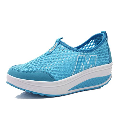 L LOUBIT Women Sneakers Comfort Slip On Wedges Shoes Breathable Mesh Walking Shoes for Women 3308 Blue 37