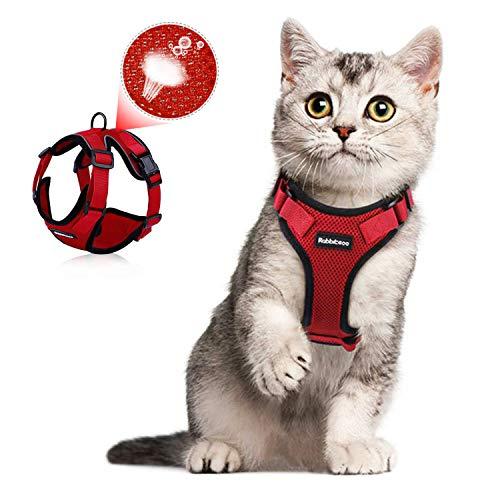 TIANTOU Arnés Gato,Arnés para Gatos,Arnés y Correa para Gato,Cat Harness,Cat Vest Harness, Ajustable Respirante Pequeña Chaleco para Caminar,Entrenar, Cachorros, Perros Pequeños y Gatos (XS) Rojo