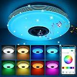 ABEDOE Lamparas de Techo con Altavoz Bluetooth Led 36W, Control de teléfono inteligente , Intensidad de luz regulable RGB música, Acrílico lámpara De Techo