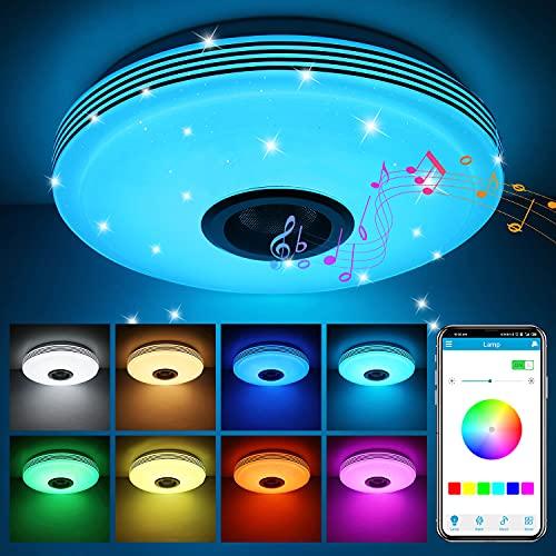 ABEDOE Lamparas de Techo con Altavoz Bluetooth Led 36W, Control de teléfono inteligente , Intensidad de luz regulable RGB...