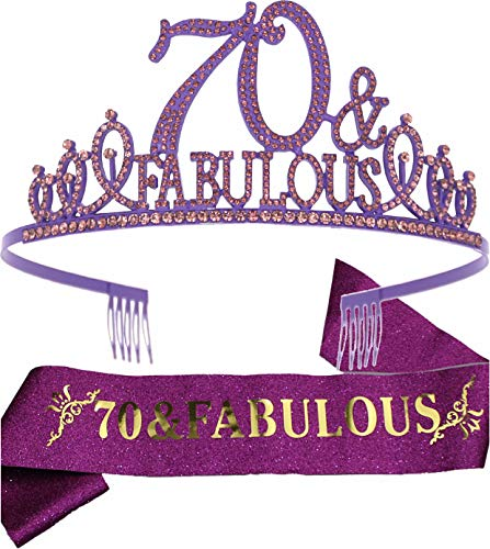 70th Birthday Gifts for Women,70th Birthday Tiara and Sash Purple,70th Birthday Decorations Party Supplies,70& Fabulous Birthday Satin Sash Crystal Tiara Birthday Crown for 70th Birthday Party Decor
