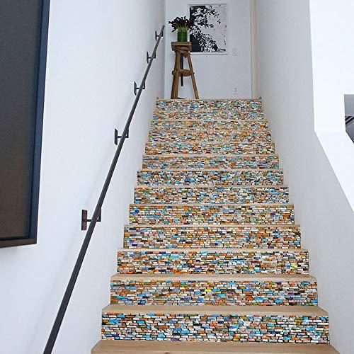 Sencillo Vida 3D Pegatinas de Escalera Antideslizante Impermeable auto adhesivo pegatina de pared vinilo decorativo Stair Sticker Steps Sticker Ceramic Tiles Patterns, 6Pcs/Set (B)