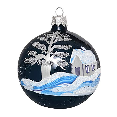 MELIGARDEN Décoration Arbre de Noël Boules de Verre Bleu foncé 4 pièces Deco Sapin